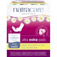 Natracare Organic Ultra Extra Pads With Wings, Long 8s